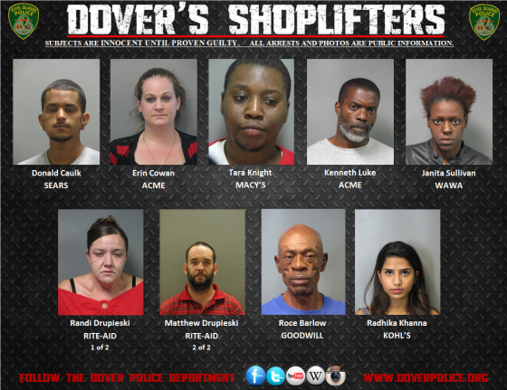 Shoplifters arrested between September 11th, 2014 and September 18th, 2014