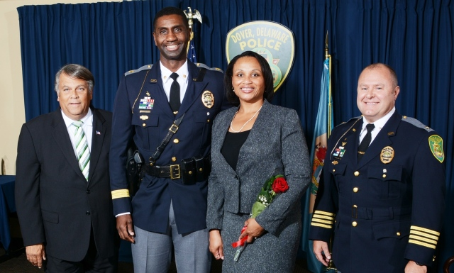 Major Marvin Mailey and his wife, Charlene stand with Dover Mayor Robin Christiansen (Far Left), and Diver Police Chief Paul Bernat (Far Right) at a recent promotion ceremony.