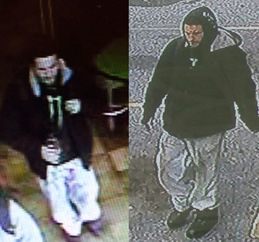 Surveillance Footage from McDonald's (left) and neighboring business (right) show suspect, Brandon Turner.  The victim has been removed from the images to protect her identity.