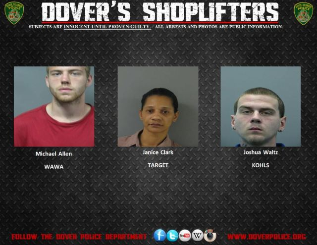 Shoplifting Arrests in Dover From 10/30/14-11/5/14