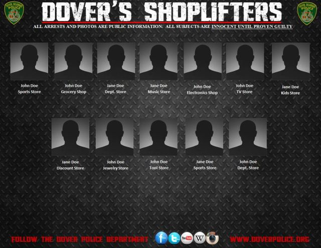 A sample of the weekly shoplifting notifications by the Dover Police Department
